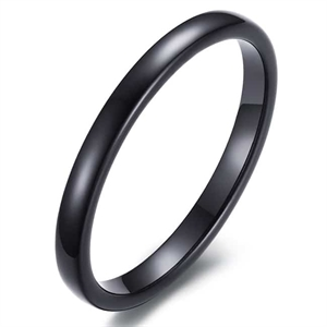 Tynn sort tungstenring